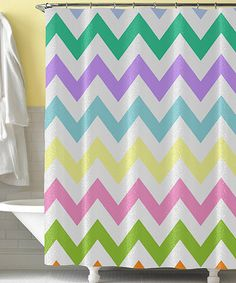 Take a look at this Rainbow Zigzag Shower Curtain by Tickled Pink NOLA on #zulily today! $59 !!