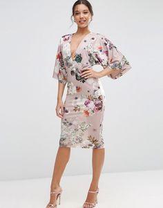 Image 1 ofASOS Soft Mink Floral Kimono Pencil Dress