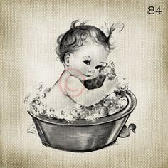 Adorable Vintage Baby Girl in Bubble Bath LARGE Digital Vintage Image Download Sheet Transfer To Totes Pillows Tea Towels T-Shirts- 84. $2.00, via Etsy.