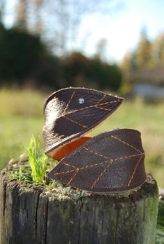 Pixie leaf cuff, my own design, made of recycled leather and made in Canada.