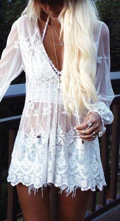 Gypsy Lovin Light White Beach Outfit Idea