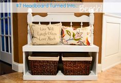 DIY old Headboard made into a cute Bench with storage