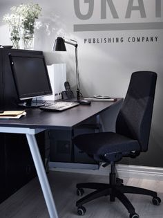 VOLMAR dark grey work chair and GALANT black-brown desk
