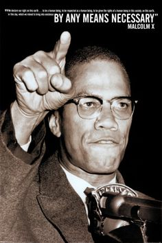 """""""We declare our right on this earth...to be a human being, to be respected as a human being, to be given the rights of a human being in this society, on this earth, in this day, which we intend to bring into existence by any means necessary."""" -Malcolm X"""