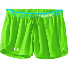 """Under Armour Play Up Shorts - Neon Green - 3"""" Inseam with the word Volleyball on the waist band! Also comes in neon pink."""