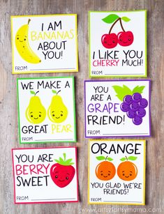 I'm excited to share another free printable with you today that will be the perfect valentine for your kid's classroom or a Valentine's Day Party!     <em class=short_underline>  </em>  One of my favorite things to design are fun and free printable Valentines for your kids to hand out to their friends and classmates every year. These six fruity Valentines will be a sweet and punny addition to every Valentine's Day party or eve...