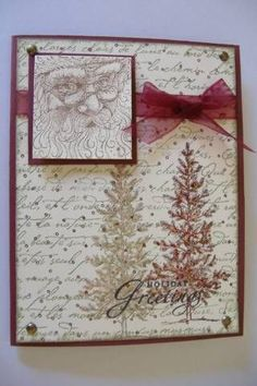 By stamper272001 at Splitcoaststampers. Christmas card. Uses stamp from SU Lovely As A Tree stamp set. Background stamps are French Script and Itty Bitty Background. Looks like tree on right was stamped in green & then overstamped in burgundy. I like the card layout.