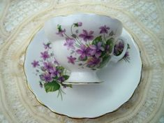 Vintage Purple Violets Footed English Bone China Teacup And Saucer