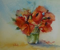 watercolor poppies in a jar - Joke Klootwijk www.aquarelleren.nl euro 100,00 incl.shipping in the Netherlands. For other shipping costs email me.