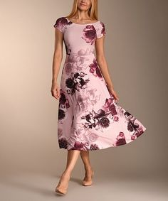 340c4b687a78 Another great find on  zulily! Soft Pink  amp  Brown Floral Midi Dress -