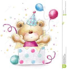 Orsacchiotto Con Il Regalo Scheda Di Buon Compleanno Illustrazione di Stock - Immagine: 52062762