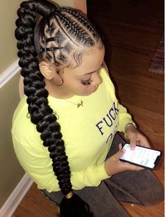 85 Box Braids Hairstyles for Black Women - Hairstyles Trends Box Braids Hairstyles, Braided Ponytail Hairstyles, Braided Hairstyles For Black Women, Baddie Hairstyles, Braids For Black Hair, Black Hairstyles, Wedding Hairstyles, Beautiful Hairstyles, Natural Weave Hairstyles
