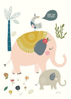 Nikki Upsher 'Postcard Howdy Elephants'