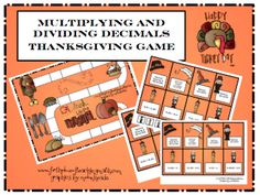 Multiplying and dividing decimals Thanksgiving game freebie!