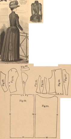 Der Bazar 1889: Black tricot-fabric outergarment; 57. front insertion, 58. front part with gathered lapel, 59. and 60. side gores, 61. skirt front part, 62. back gore, 63. collar in half size, 64. and 65. sleeve parts Doll Dress Patterns, Costume Patterns, Clothing Patterns, Sewing Patterns, Historical Costume, Historical Clothing, Vintage Patterns, Vintage Sewing, Steampunk