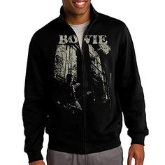 Zepu Mens Sweatshirt David Bowie Guitar Fullzip Hoodie Jacket S Black >>> Check out the image by visiting the link.