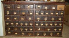 """1890 Oak Card Catalog"" -- Despite the odd drawer and the non-uniform pulls, this piece has a lovely front. No further details at the click-through."