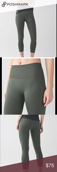 lululemon athletica Zone In Crop Leggings NWOT lululemon athletica Zone In Crop Leggings in gator green. Brand new without tags. Size 6. Compression leggings. lululemon athletica Pants Ankle & Cropped