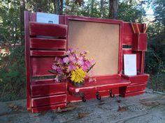 Chalk Board 3 Slot Mail Organizer--Large Message Center--Wall Decor--Entry Way Decor $79.00