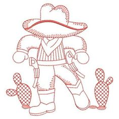 Sweet Heirloom Embroidery Design: Redwork Cactus Cowboy 3.80 inches H x 3.63 inches W