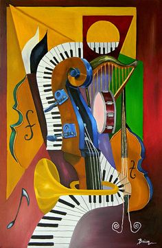 Jammin With JC Canvas Print by Brien Cole. All canvas prints are professionally printed, assembled, and shipped within 3 - 4 business days and delivered ready-to-hang on your wall. Choose from multiple print sizes, border colors, and canvas materials. Cubist Art, Abstract Art, Abstract Paintings, Jazz Painting, Canvas Art, Canvas Prints, Painting Canvas, Jazz Art, Art Pictures
