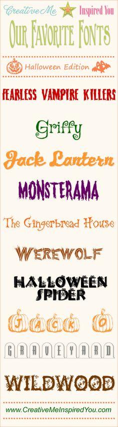 10 Free Halloween Fonts - CreativeMeInspiredYou.com  ~~ {10 free fonts w/ immediate download links}