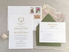 Traditional religious wedding invitation with laurel graphic. Olive and gold foil. Hobart and Haven  www.hobartandhaven.com