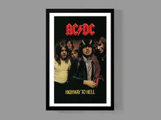 AC/DC Custom Poster - Highway To Hell - Album Legendary Iconic Classic Rock