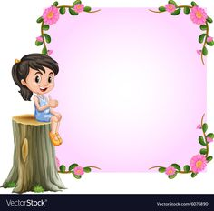 Asian girl and pink border with flowers design Vector Image Frame Border Design, Boarder Designs, Page Borders Design, Powerpoint Background Design, Background Design Vector, Art Drawings For Kids, Drawing For Kids, Arte Do Hulk, Picture Borders