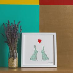 'Bestest Bunnies' Rabbits Romantic Gift Artwork