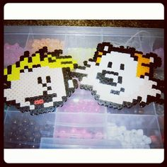 Calvin and Hobbes perler beads by dckrnbws