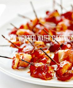 Bacon Wrapped Water Chestnuts are an easy appetizer that everyone LOVES! Perfect football food or party appetizer!