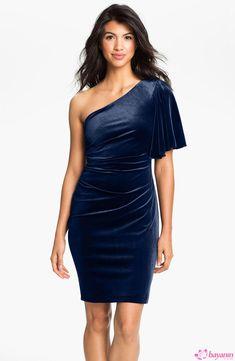 Tek omuzlu kadife elbise modeli - Bayanin.com