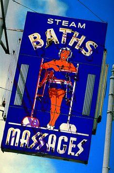 Steam Baths & Massages Retro Neon Sign. Detroit, MI