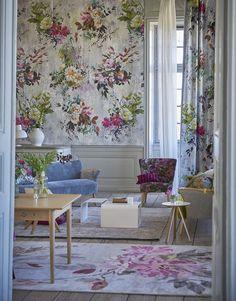 Designers Guild Aubriet fuchsia wallpaper panel and fabric