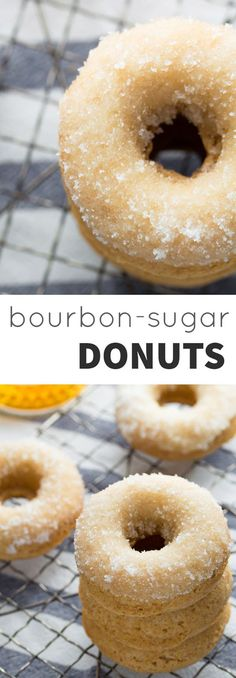 Bourbon Sugar French Toast Donuts- French toast flavored baked donuts are rolled in bourbon sugar in this easy and delicious recipe! Donuts Beignets, Baked Doughnuts, Donuts Donuts, Brunch Recipes, Breakfast Recipes, Dessert Recipes, Desserts, Breakfast Muffins, Mini Muffins
