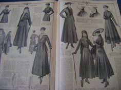 Mourning dress: Vanity seemed inappropriate when nearly everyone had lost a loved one. Women wore black crepe which remained the approved fabric for this period. As well as Hats and Finery were used.