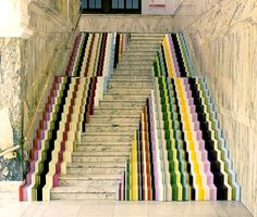 """Framed"" installation at the marble staircase of the V&A museum at London Design Festival 2010. By Stuart Haygarth"