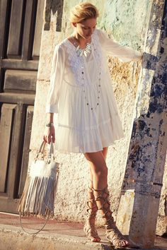 Boho chic Bermeja Tunic Dress, gypsy style with modern hippie lace up sandals. FOLLOW http://www.pinterest.com/happygolicky/the-best-boho-chic-fashion-bohemian-jewelry-gypsy-/ for the BEST Bohemian fashion trends in clothing & jewelry.