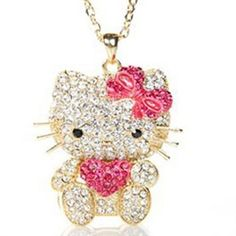 Hello Kitty Necklace now just £5.99. This amazing crystal necklace has an independent head movement and has to be seen to be truly appreciated.  It comes in silver or gold with Swarovski elements with detailed sparkle bows and hearts in either red or pink.