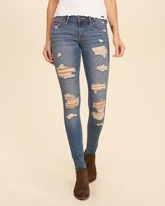 Hollister Shredded Low-Rise Super Skinny Jeans- Size 1