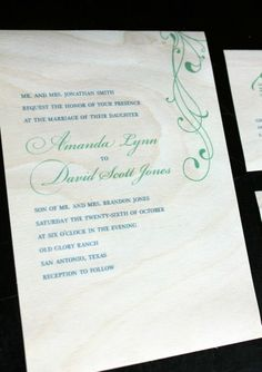 Even wedding invitations are the perfect reason to use real wood paper. These sheets can be embossed, diecut, handcut, printed, stained, painted, the list goes on and on....  #DIY #wedding #invitations #wood #envelope #printed #handmade #personalized #card #custom #customized #cardmaking #craft #wood #art #scrapbooking #rustic #vintage   www.etcpapers.com