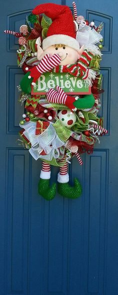 Christmas deco mesh wreath Elf wreath Elf by WonderfulWreathsKim