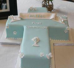 Torta de primera comunión para niños.