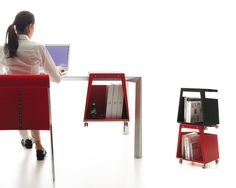 The Smith from Danese Milano, designed by Jonathan Olivares, has wheels to allow it to be easily moved. But the Smith can also be stacked with other Smiths, or hung from a table. http://www.core77.com/blog/furniture_design/10_stools_with_storage__28174.asp