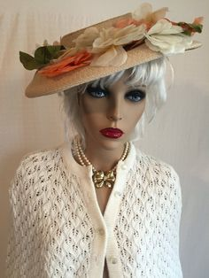 Vintage 50s Tilt Dish Hat with Flowers  by GypsysClosetVintage
