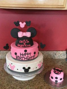 minnie mouse - 12in chocolate, 9in WASC, 1/2 ball WASC (minnie head), and 4 in matching smash cake for 3yr old and 1 yr old sisters bdays. BC frosted except the minnie head, which is covered in fondant. Fondant accents, grosgrain ribbon trim.