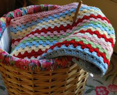 Firefly Cottage: In a Colorful Mood. Granny stripe blanket using LucyAttic24 pattern, in Cath Kidston colours - swoon!!!