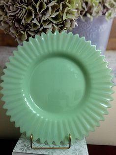 Very Rare Vintage Jadeite/Jadite Plate, 1940's- 1950's, Ruffled, Crimped Edge, NY Estate. by BlueDaisyClassics on Etsy https://www.etsy.com/listing/250470125/very-rare-vintage-jadeitejadite-plate
