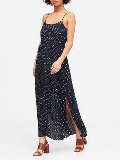 Polka Dot Pleated Maxi Dress | Banana Republic Celebrity Airport Style, Curly Crochet Hair Styles, Pants For Women, Clothes For Women, Pleated Maxi, Playing Dress Up, Elegant Dresses, Dress Skirt, Women's Dresses